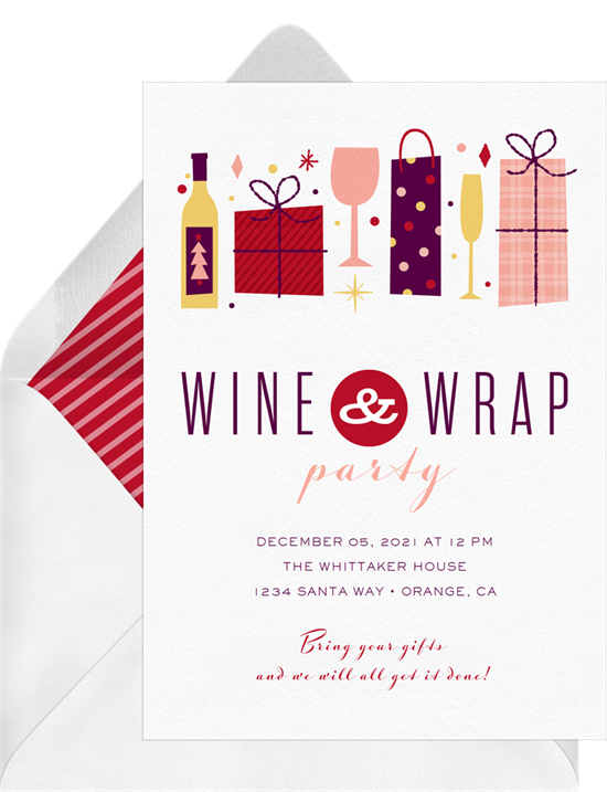 Wine & Wrap holiday party invitations