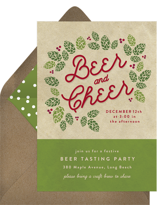 Beer and cheer holiday party invitation