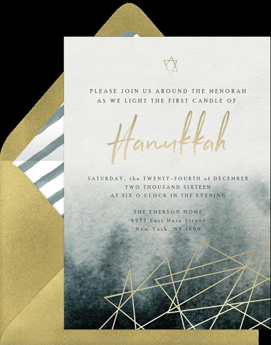 Gilded Hanukkah Invitation