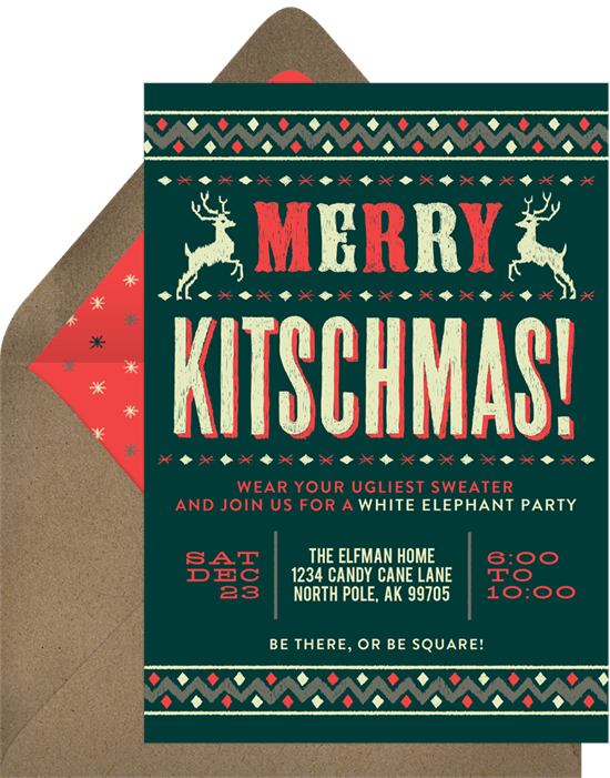 Merry Kitchmas holiday party invitations