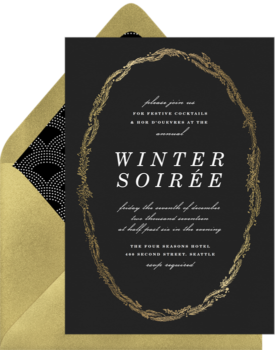 Winter soiree holiday party invitations