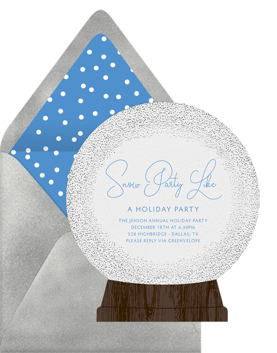 Snow globe holiday invitation