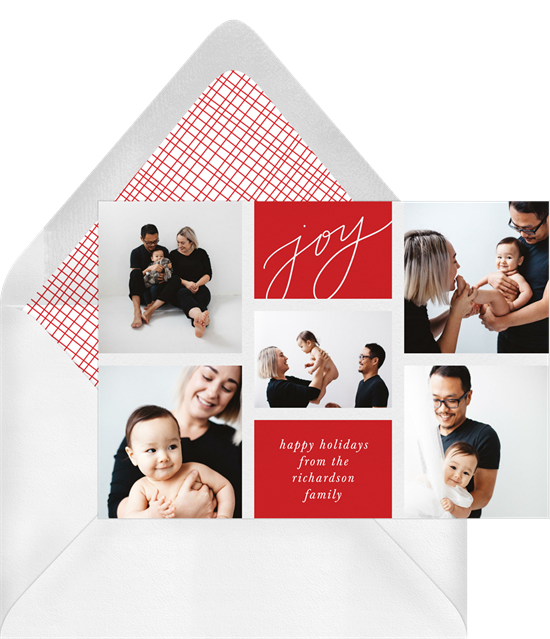 Christmas card ideas: Joy Grid Card from Greenvelope