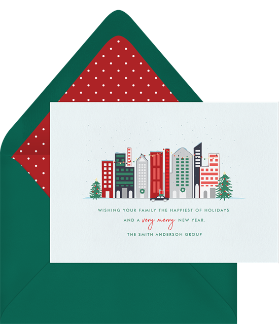 Christmas card ideas: City Greetings Card from Greenvelope