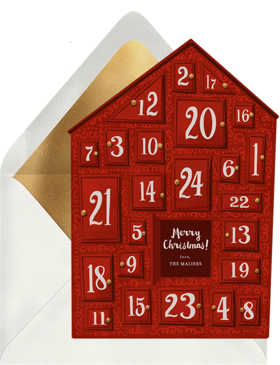 Christmas card ideas: Christmas Countdown Cards from Greenvelope