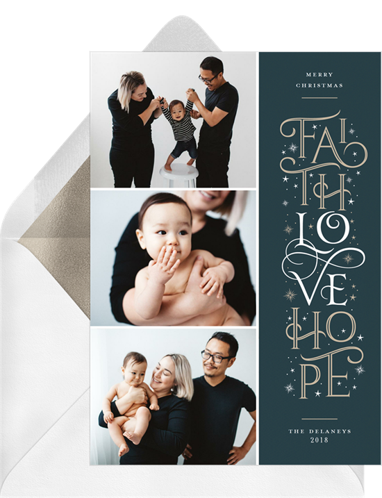 Christmas card ideas: Faith Love Hope Card from Greenvelope