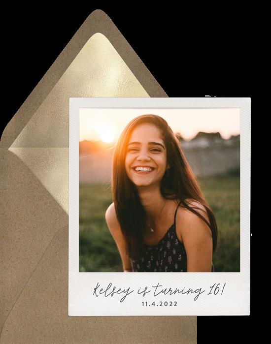 Sweet 16 invitations: the Polaroid Celebration invitation design from Greenvelope