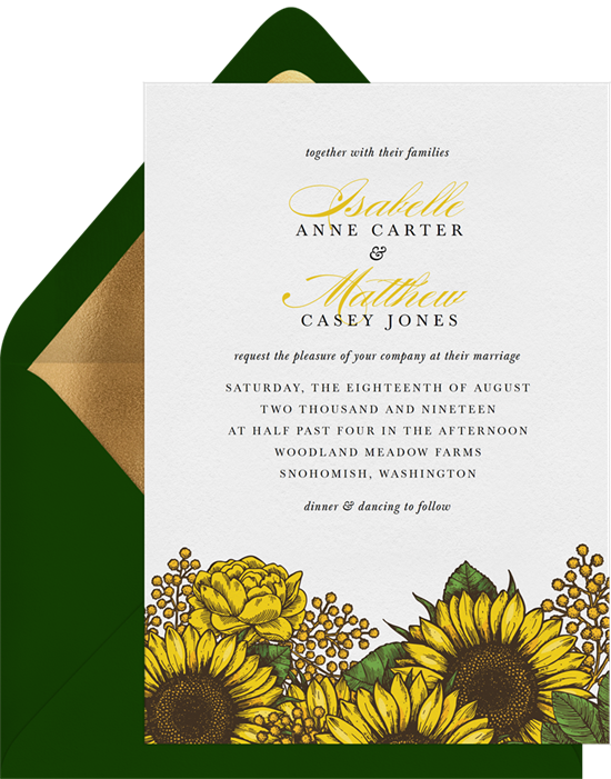 Radiant Sunflowers Rustic Wedding Invitations from Greenvelope