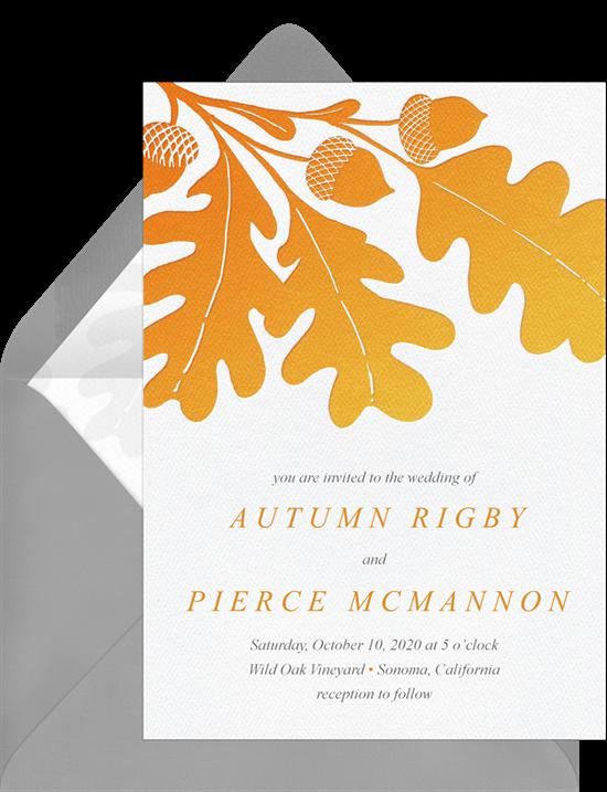 Oak Leaf Motif Rustic Wedding Invitations from Greenvelope