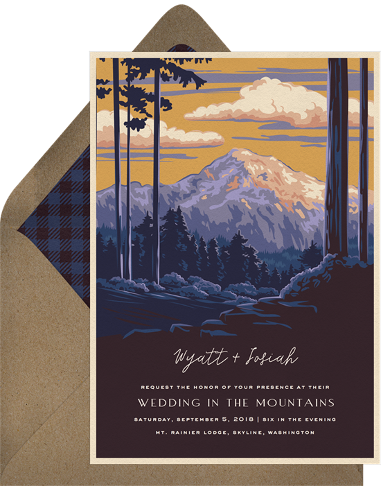 Mount Rainier Rustic Wedding Invitations from Greenvelope