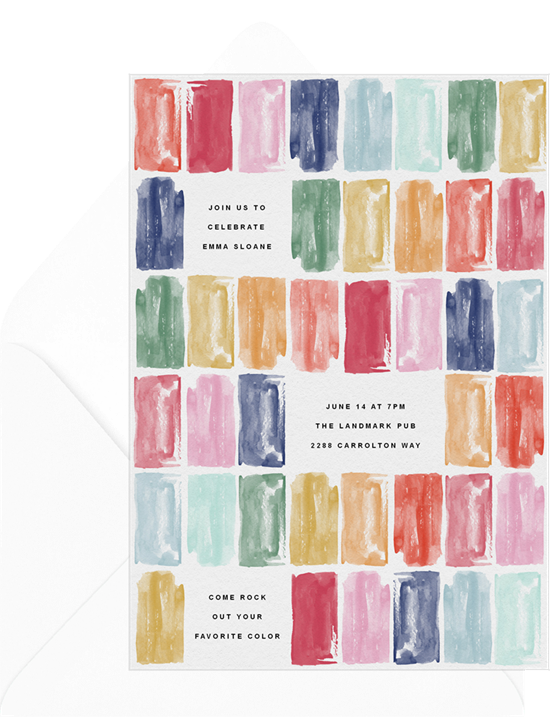 Sweet 16 invitations: the Stacked Jewels invitation design from Greenvelope