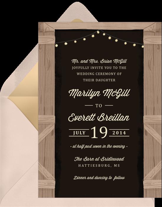 Rustic Evening Wedding Invitations from Greenvelope