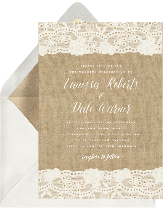 Burlap and Lace Rustic Wedding Invitations from Greenvelope