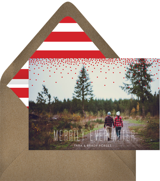 """A card that reads, """"Merrily ever after,"""" one of the romantic Christmas card greetings"""