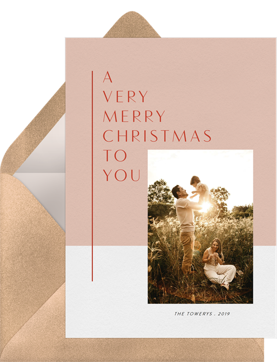"""A card that features one of the heartfelt Christmas card greetings, """"A very merry Christmas to you"""" with a personalized image"""