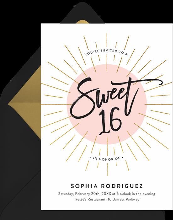 Sweet 16 invitations: the 16 Burst invitation design from Greenvelope