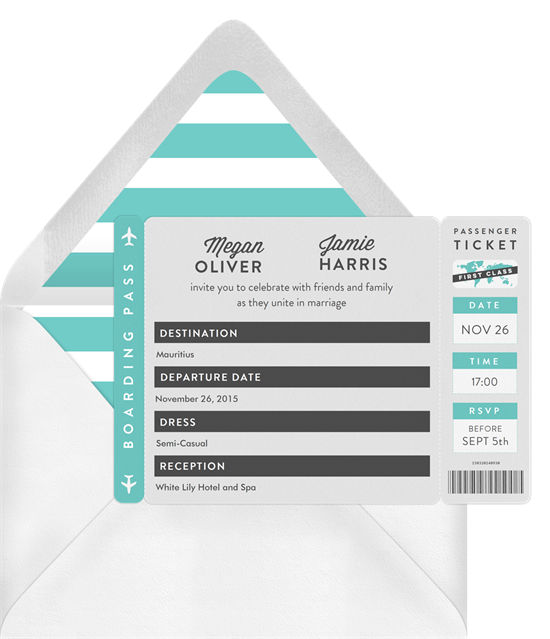 Wedding invitation ideas: an invitation shaped like an airplane ticket