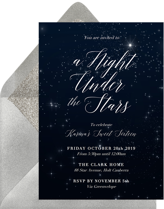 Sweet 16 invitations: the Holy Night invitation design from Greenvelope