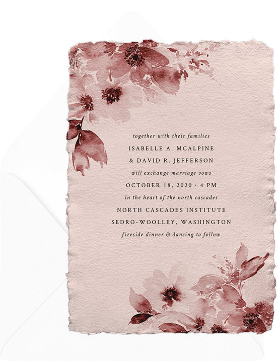 Wedding invitations ideas: an online invitation with deckled edges