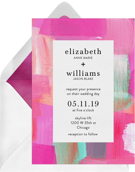 Wedding invitation ideas: a brightly colored invitation design