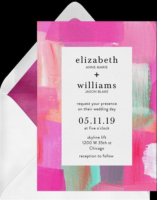 Wedding invitation ideas: a brightly colored invitation design