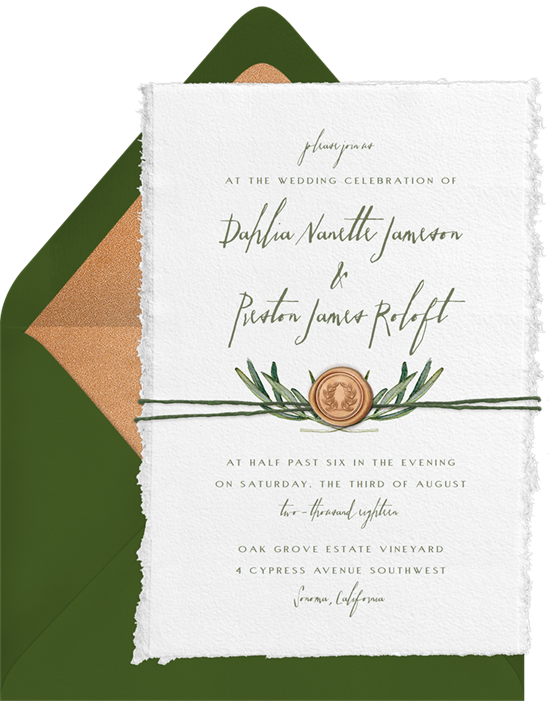 Wedding invitation ideas: an online invitation with a wax seal