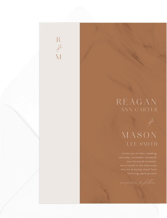 Wedding invitation ideas: a marble invitation design
