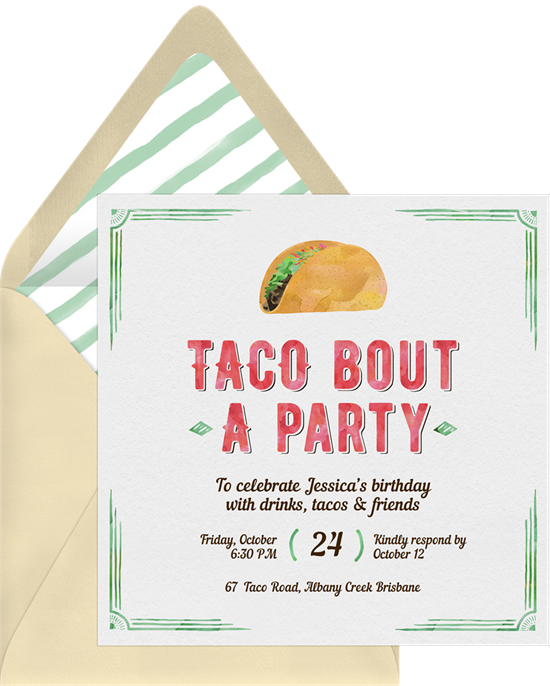Sweet 16 invitations: the Taco Bout a Party invitation design from Greenvelope