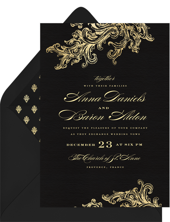 Wedding invitation ideas: a gilded invitation