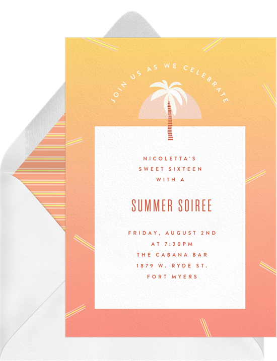 Sweet 16 invitations: the Perfect Summer Vibes invitation design from Greenvelope