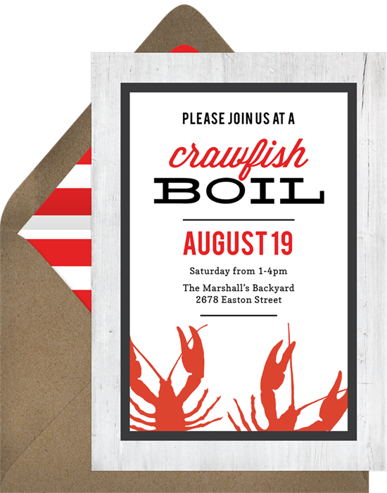 Crawfish Boil Family Reunion Invitations from Greenvelope