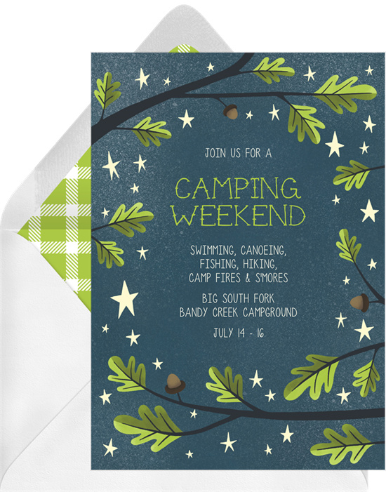 Let's Go Camping Family Reunion Invitations from Greenvelope