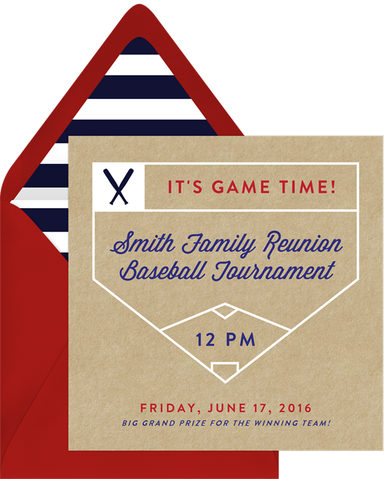 Bases Loaded Family Reunion Invitations from Greenvelope