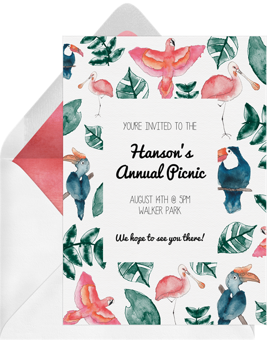 Tropical Birds Family Reunion Invitations from Greenvelope
