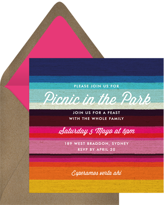 Mexican Blanket Family Reunion Invitations from Greenvelope