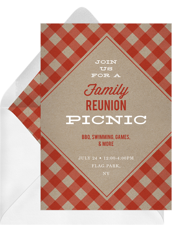 Trendy Gingham Family Reunion Invitations from Greenvelope