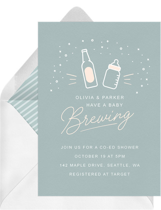 Baby Brewing baby sprinkle invitations from Greenvelope