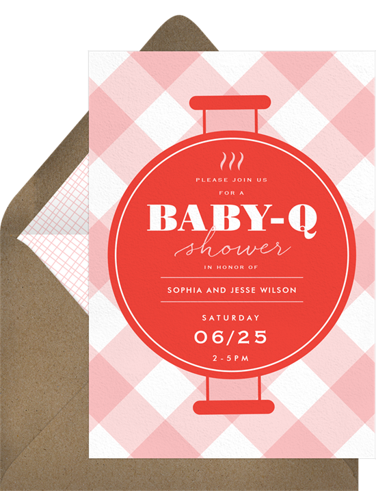 Grill and Chill baby sprinkle invitations from Greenvelope