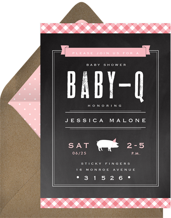 Gingham BBQ baby sprinkle invitations from Greenvelope