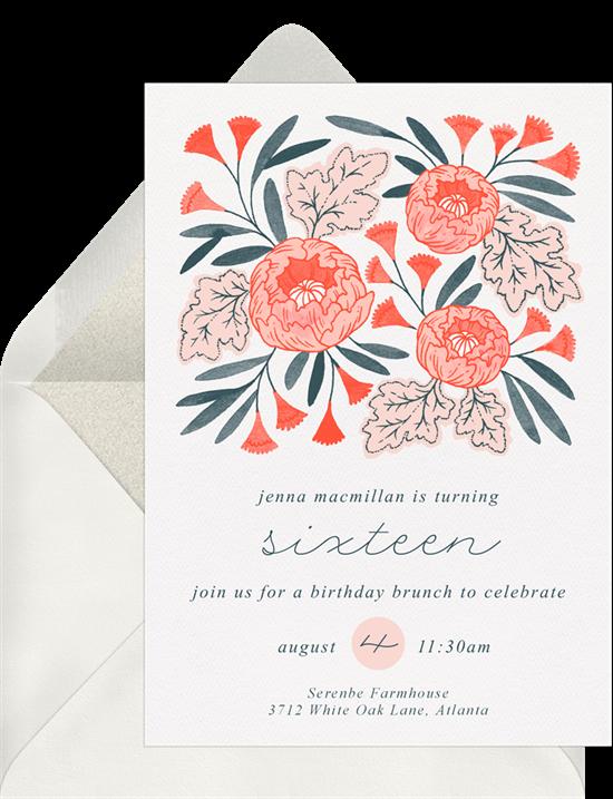 Sweet 16 invitations: the Pretty Peonies invitation design from Greenvelope