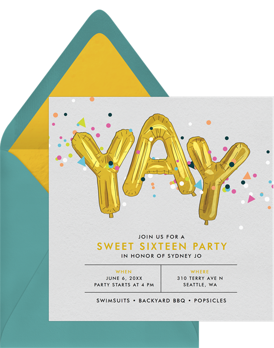 Sweet 16 invitations: the Confetti Celebration invitation design from Greenvelope