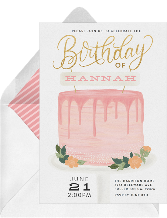 Sweet 16 invitations: the Cute Cake Topper invitation design from Greenvelope