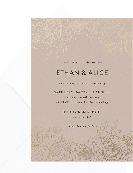 King Protea winter wedding invitations from Greenvelope