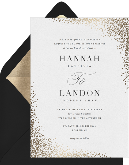 Shimmering Confetti winter wedding invitations from Greenvelope
