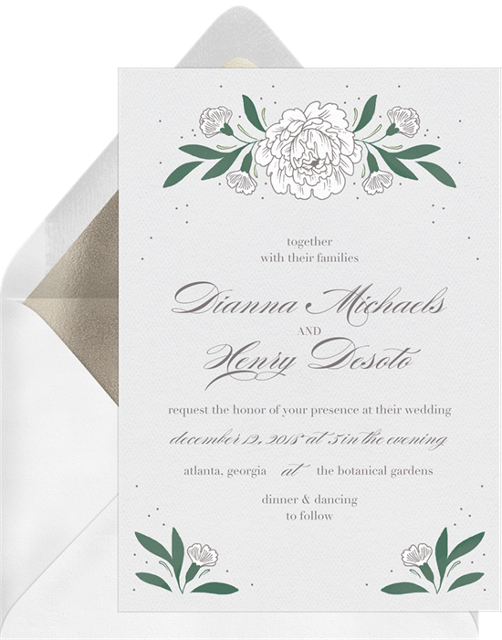 Winter Roses wedding invitations from Greenvelope