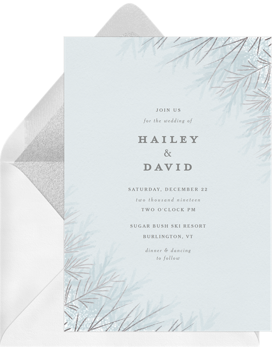 Foil Pine Branches winter wedding invitations from Greenvelope