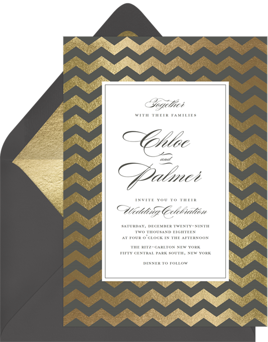 Gold Chevron winter wedding invitations from Greenvelope
