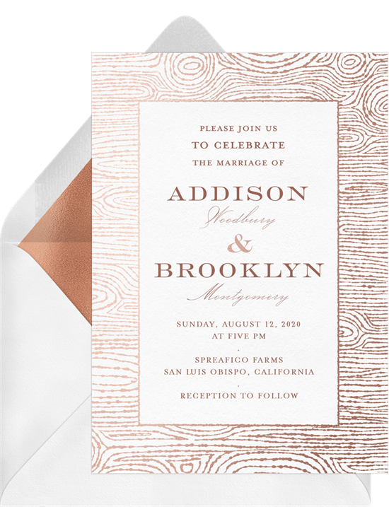 Metallic Woodgrain winter wedding invitations from Greenvelope