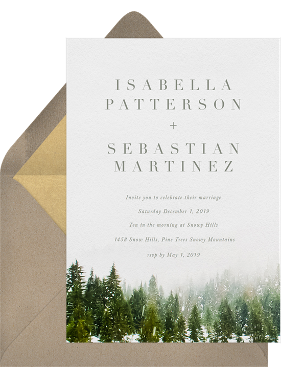 Snow-Capped Trees winter wedding invitations from Greenvelope