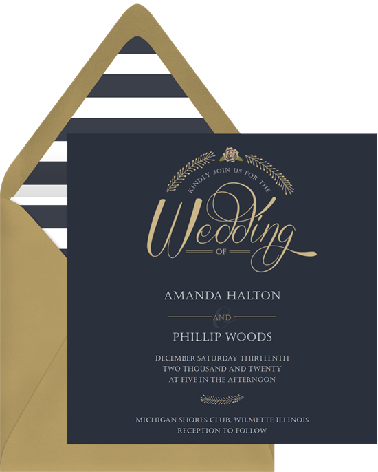 Golden Rose winter wedding invitations from Greenvelope